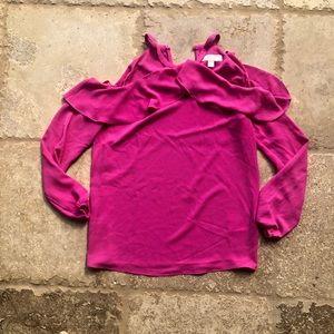 Michael Kors Hot Pink Off the Shoulder Blouse Sz S